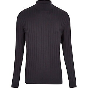 Navy chunky ribbed roll neck top