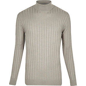 Grey chunky ribbed roll neck sweater