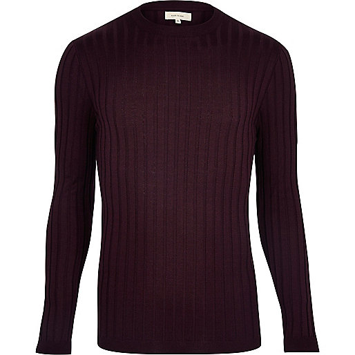 Burgundy chunky ribbed muscle fit top
