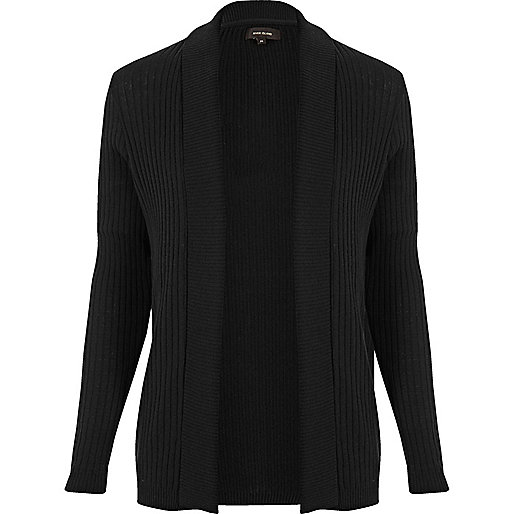 Black waffle muscle fit cardigan