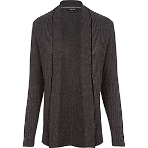 Dark grey ribbed muscle fit cardigan