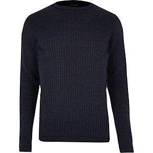 Dark blue ribbed sweater