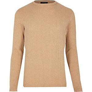 Light brown ribbed jumper