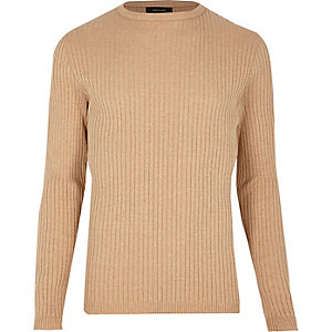Light brown ribbed sweater