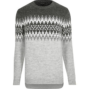 Light grey fairisle knit sweater