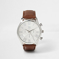 Silver & dark brown Roman numeral watch