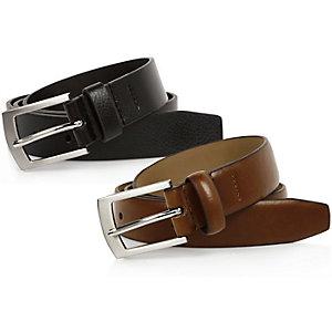 Lot de ceintures habillées noir et marron