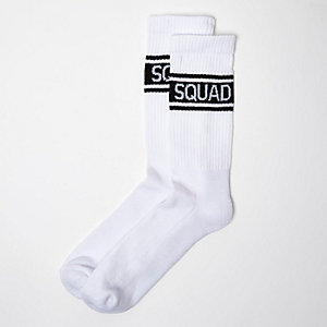 White 'Squad' print ankle socks
