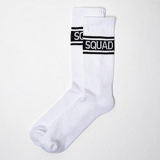 White 'Squad' print ankle socks