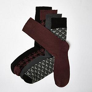 Dunkle Socken mit Hahnentrittmuster, Multipack