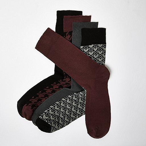 Dark dogtooth socks multipack