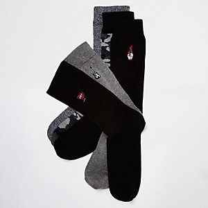Black rocker socks multipack