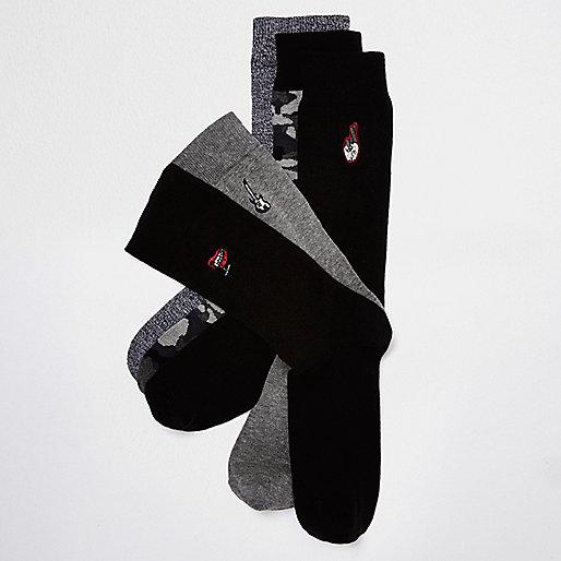 Black rocker socks multipack