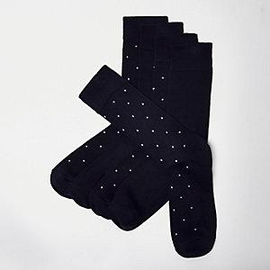 Navy bamboo polka dot socks multipack