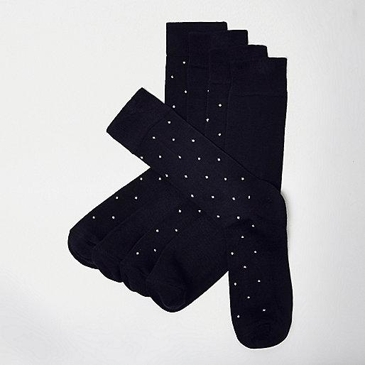 Lot de chaussettes à pois bambou bleu marine