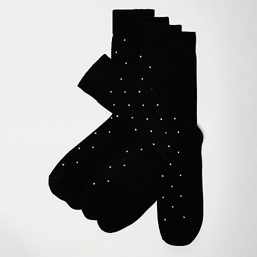Black bamboo polka dot socks multipack