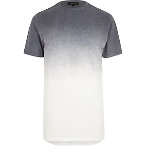 White and blue faded longline T-shirt