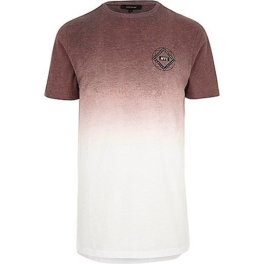 White and maroon faded longline T-shirt