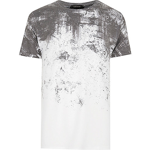 White cracked fade print T-shirt