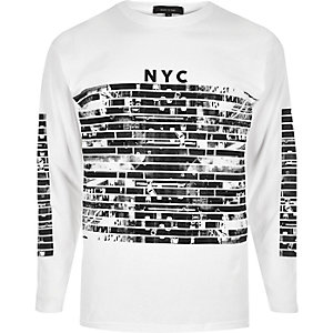 White NYC print long sleeve T-shirt