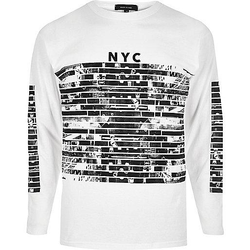 White NYC print long sleeve T-shirt