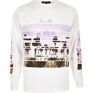White LA print long sleeve T-shirt
