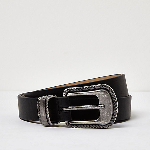 Black leather look Western belt