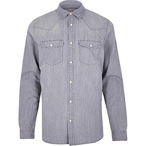 Grey casual western denim shirt