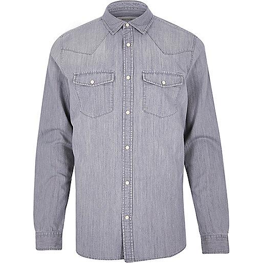 Chemise en jean grise casual style western