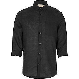 Schwarzes Leinenhemd