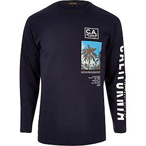 Navy California print long sleeve T-shirt