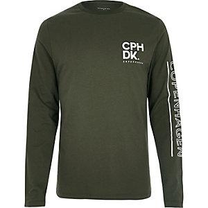 Green Copenhagen print long sleeve T-shirt