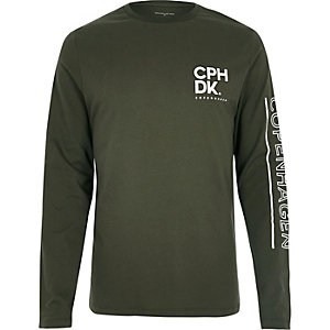 Green Copenhagen print long sleeve T-shirt