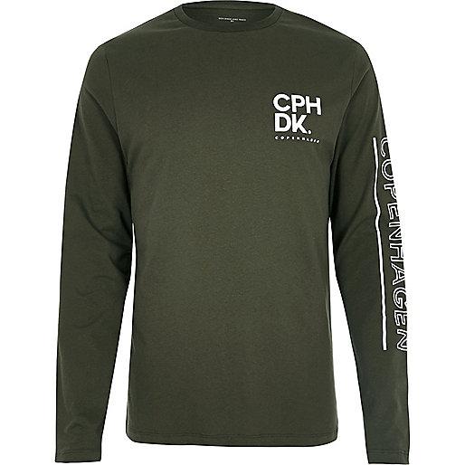 T-shirt manches longues vert avec inscription Copenhagen