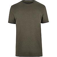 Khaki crew neck T-shirt