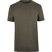 T-shirt kaki col ras du cou