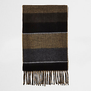 Camel colour block scarf