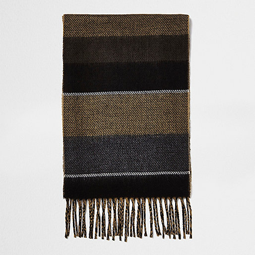 Camel colour block scarf