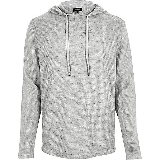 Grauer Hoodie mit Waffle-Muster