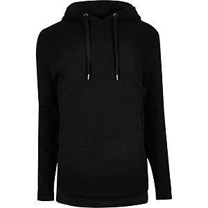Black waffle hoodie