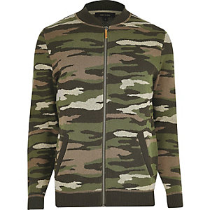 Dark green camo bomber jacket