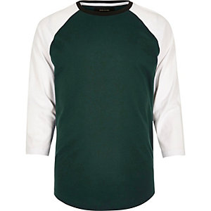 Green slim fit raglan T-shirt