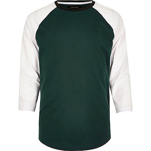 Green slim fit raglan T-shirt