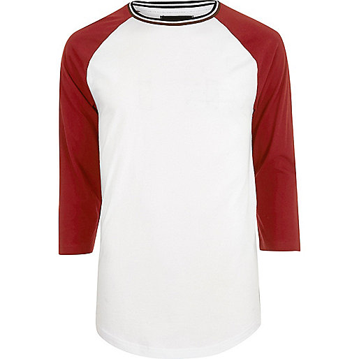 White slim fit raglan T-shirt