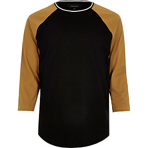 Black slim fit raglan T-shirt