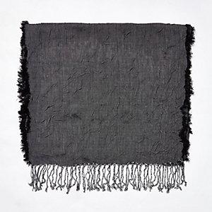 Grey silky crinkle scarf