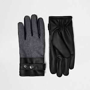 Black leather look block panel gloves