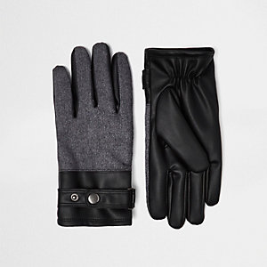 Black leather look block panel gloves