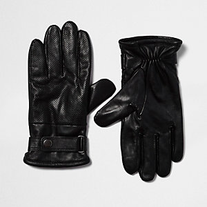 Black perforated leather biker gloves