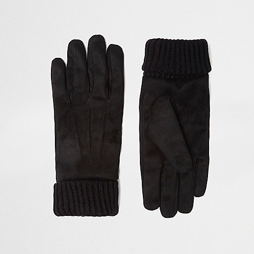 Black suede cuff knit gloves